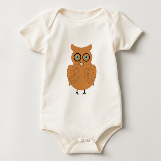 Orange and Brown Owl by ©Dollface766 Baby Bodysuit