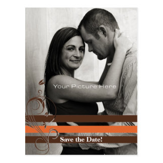 Orange and Brown Photo Card Save The Date