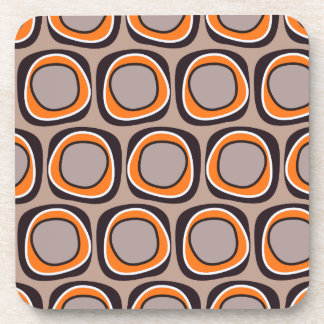 Orange and Brown Retro Circles Beverage Coaster