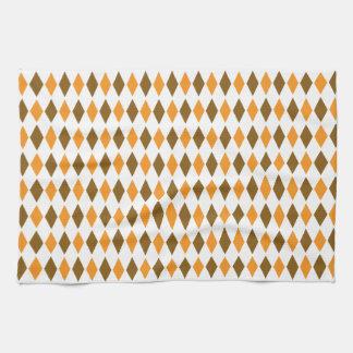 Orange and Brown Retro Diamond Pattern Design Hand Towel