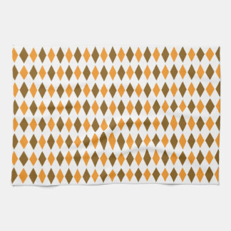 Orange and Brown Retro Diamond Pattern Design Towel