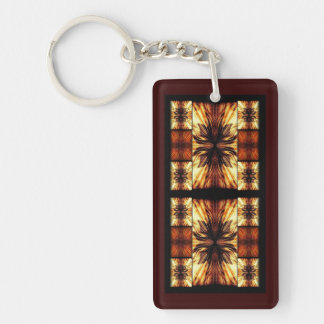 Orange And Brown Retro Pattern Double-Sided Rectangular Acrylic Keychain