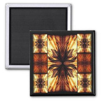 Orange And Brown Retro Pattern 2 Inch Square Magnet