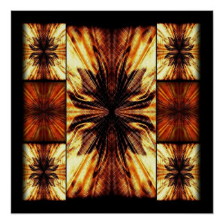 Orange And Brown Retro Pattern Poster
