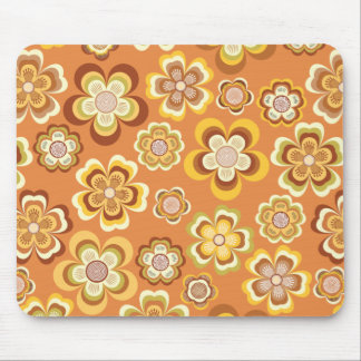 Orange and brown seventies floral pattern mouse pad