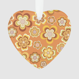 Orange and brown seventies floral pattern ornament