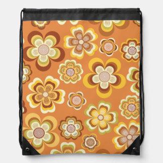 Orange and brown seventies floral pattern cinch bag