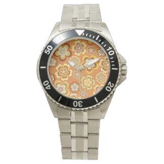 Orange and brown seventies floral pattern watch