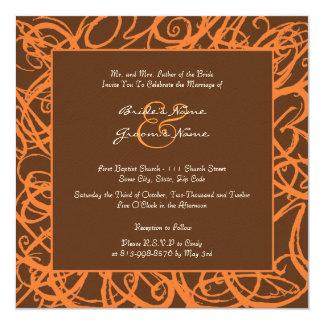 Orange and Brown Sketchy Frame Wedding Invitation