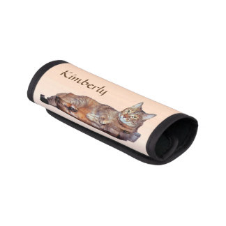 Orange and Brown Tabby Cat Luggage Handle Wrap