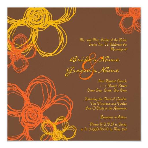 Orange and Brown Wild Flowers Wedding Invitation