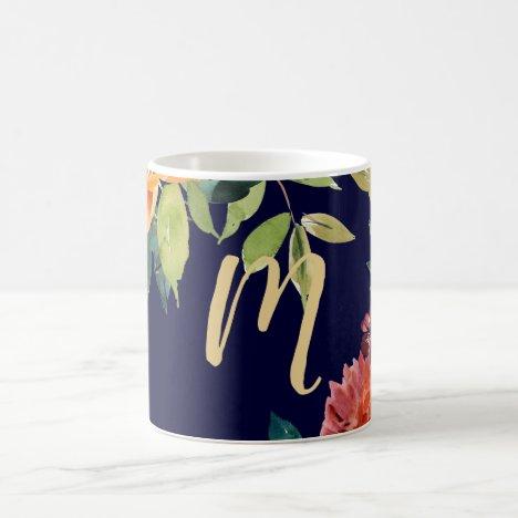 Orange and Burgundy Flowers on Navy   Monogram Coffee Mug