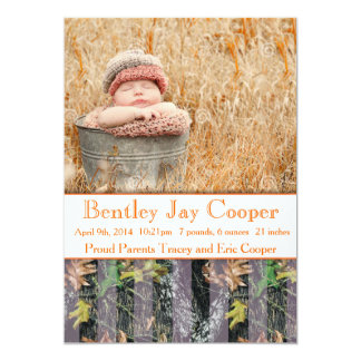 """Orange and Camouflage Baby Announcement 5"""" X 7"""" Invitation Card"""