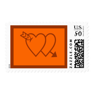 Orange and Chocolate Brown Wedding Love Stamps