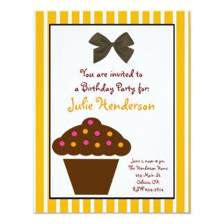 Orange and Chocolate Cupcake Birthday Invitation
