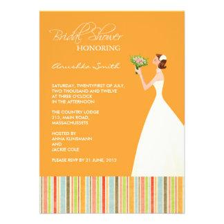 Orange and Colored Stripes Bridal Shower Invites