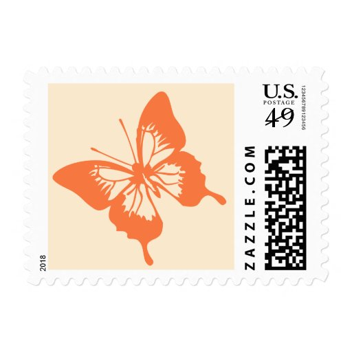 Orange and Cream Butterfly Wedding Postage Stamp