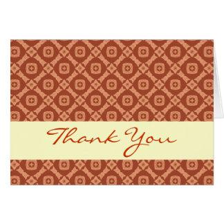 Orange and Cream Diamonds Elegant Thank You H205 Greeting Cards