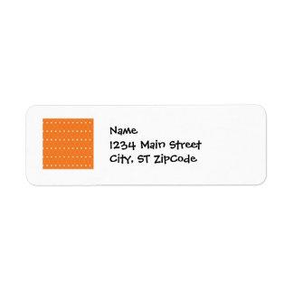 Orange and Cream Diamonds Square Argyle Pattern Return Address Label