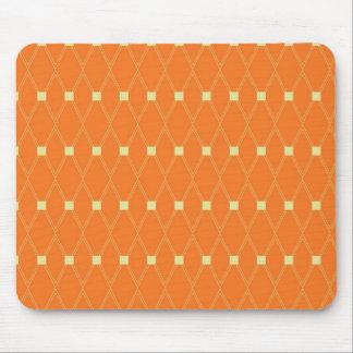 Orange and Cream Diamonds Square Argyle Pattern Mouse Pad