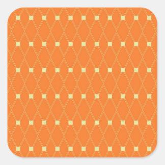 Orange and Cream Diamonds Square Argyle Pattern Square Sticker
