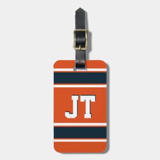 Orange and Dark Blue Sports Stripes Personalized Bag Tag