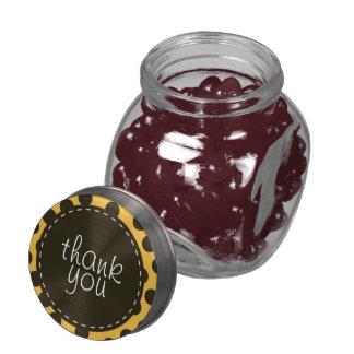 Orange and Dark Brown Polka Dot Thank You Glass Jars