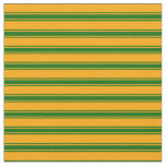 [ Thumbnail: Orange and Dark Green Colored Lined Pattern Fabric ]