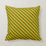 [ Thumbnail: Orange and Dark Green Colored Lined Pattern Pillow ]