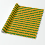 [ Thumbnail: Orange and Dark Green Colored Lined Pattern Wrapping Paper ]