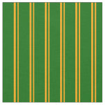 [ Thumbnail: Orange and Dark Green Colored Striped Pattern Fabric ]