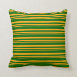 [ Thumbnail: Orange and Dark Green Colored Striped Pattern Throw Pillow ]