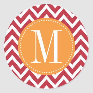 Orange and Dark Red Chevron Custom Monogram Classic Round Sticker