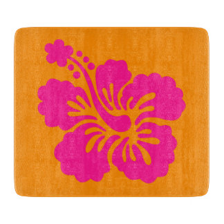 Orange and Deep Pink Hibiscus Cutting Board
