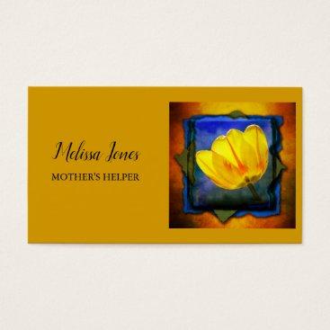 Orange and Floral Mother's Helper Business Card
