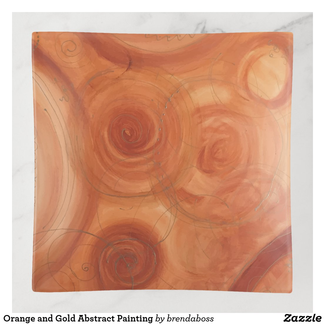 Orange and Gold Abstract Painting