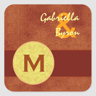 Orange and Gold Circle Monogram Wedding G375 Square Sticker