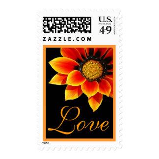 Orange and Gold Daisy Wedding Stamp