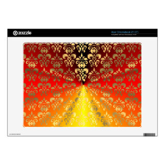 Orange and gold  damask pattern acer chromebook skin