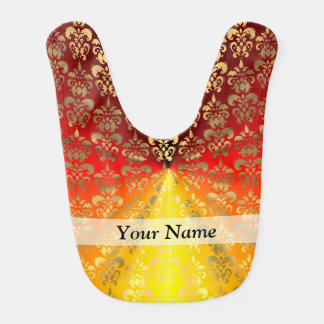 Orange and gold  damask pattern baby bib