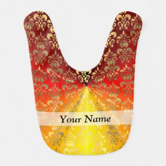 Orange and gold  damask pattern baby bib