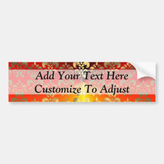 Orange and gold  damask pattern bumper sticker