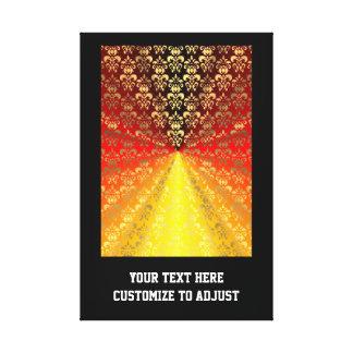 Orange and gold  damask pattern canvas print