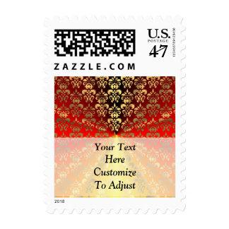 Orange and gold  damask pattern postage