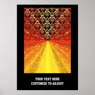 Orange and gold  damask pattern poster