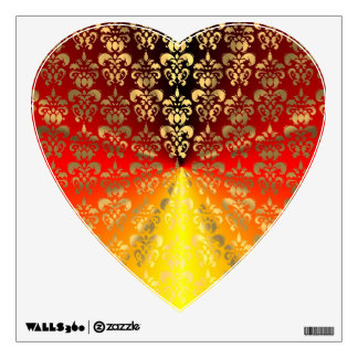 Orange and gold  damask pattern wall decal
