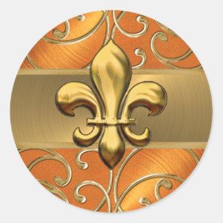 Orange and Gold Filigree Swirls Fleur de Lis Classic Round Sticker