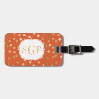 Orange and Gold Glitter City Dots Monogram Bag Tag