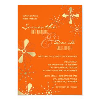 Orange and Gold Indian Inspired Wedding Card
