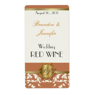 Orange and Gold Monogram Wedding Mini Wine Labels
